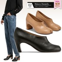 Maison Margiela Tabi Round Toe Casual Style Plain Leather Block Heels Party Style
