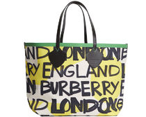 Burberry GRAFFITI Unisex Calfskin Street Style A4 Leather Logo Totes