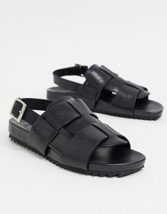 Open Toe Casual Style Leather Sandals