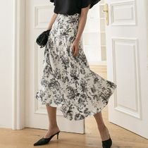 Flared Skirts Flower Patterns Casual Style Long Office Style