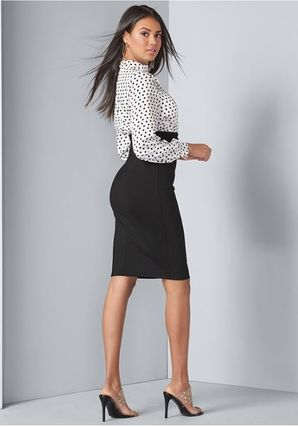 Dots Casual Style Tight Long Sleeves Medium Office Style
