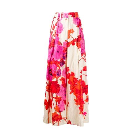 Flower Patterns Casual Style Plain Long Party Style