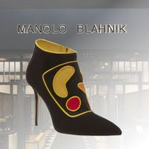 Manolo Blahnik Suede Leather Pin Heels Party Style Elegant Style