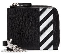 Off-White Stripes Unisex Street Style Chain Plain Leather Long Wallet