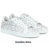 Azzedine Alaia Round Toe Rubber Sole Lace-up Casual Style Plain Leather