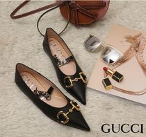 GUCCI Plain Leather Ballet Shoes