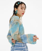 ojos Short Casual Style Street Style Tie-dye Long Sleeves Cotton