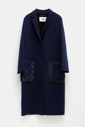 FENDI Cashmere Plain Long Party Style Elegant Style Coats