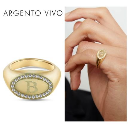 Argento Vivo Rings Casual Style Initial 18K Gold Elegant Style Rings