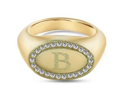 Casual Style Initial 18K Gold Elegant Style Rings