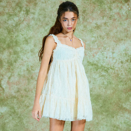 Short Casual Style Sleeveless Street Style Cotton Lace