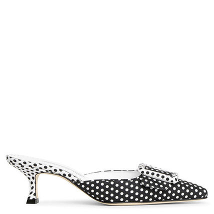 Dots Blended Fabrics Leather Pin Heels Elegant Style Mules