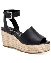 Calvin Klein Open Toe Platform Casual Style Plain Leather