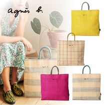 Agnes b Other Plaid Patterns Straw Bags