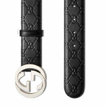 GUCCI Monogram Street Style Leather Logo Belts