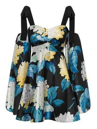 Short Flower Patterns Casual Style A-line Blended Fabrics