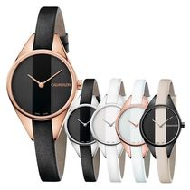 Calvin Klein Casual Style Leather Round Party Style Quartz Watches