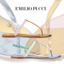 Emilio Pucci Open Toe Round Toe Casual Style Leather Sandals Sandal
