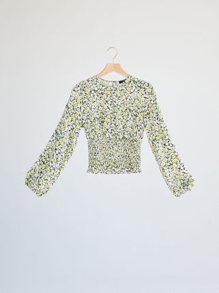 Flower Patterns Long Sleeves Puff Sleeves Shirts & Blouses