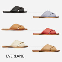 Everlane Open Toe Casual Style Plain Leather Slippers Sandals Sandal