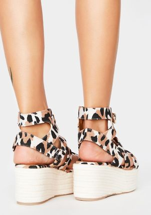 Leopard Patterns Casual Style Chunky Heels Sandals Sandal