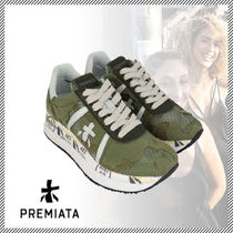 PREMIATA Camouflage Round Toe Rubber Sole Casual Style Street Style