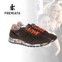 PREMIATA Round Toe Rubber Sole Casual Style Suede Street Style Plain