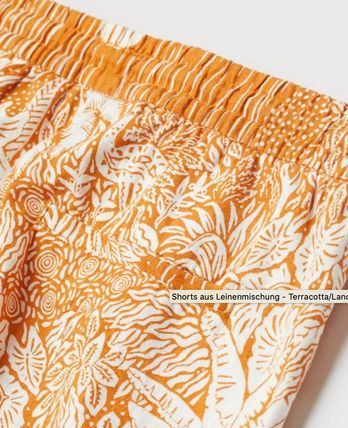 Short Tropical Patterns Casual Style Linen Elegant Style