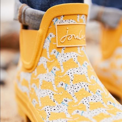 Heart Rubber Sole Chunky Heels Rain Boots Boots