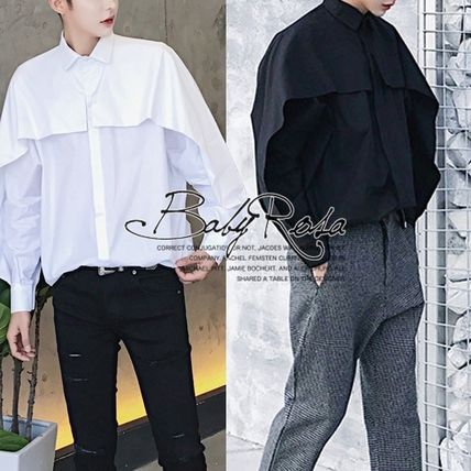Shirts Street Style Long Sleeves Plain Oversized Shirts