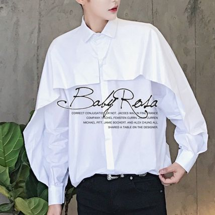Shirts Street Style Long Sleeves Plain Oversized Shirts 2