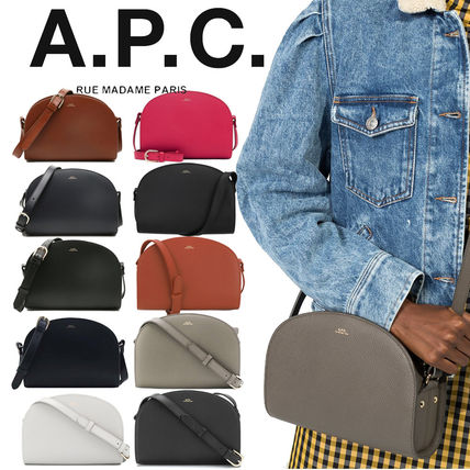A.P.C. Casual Style Unisex Street Style Vanity Bags Plain Leather