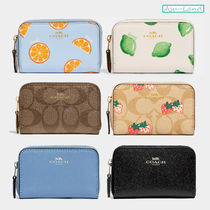 Coach Other Plaid Patterns Canvas Plain Leather Coin Cases
