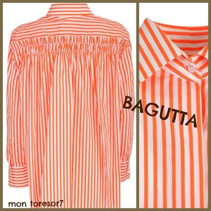 Stripes Casual Style Long Sleeves Cotton Shirts & Blouses