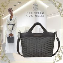 BRUNELLO CUCINELLI Casual Style 2WAY Plain Elegant Style Logo Totes