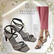 BRUNELLO CUCINELLI Open Toe Casual Style Plain Leather Elegant Style