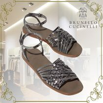 BRUNELLO CUCINELLI Casual Style Plain Leather Elegant Style Sandals Sandal