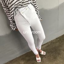 Cotton Long Asymmetry Icy Color Skinny Jeans