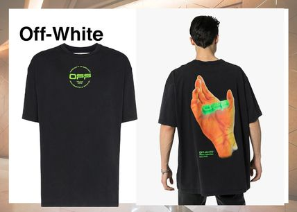 Off-White Crew Neck Crew Neck Street Style Cotton Short Sleeves Logo