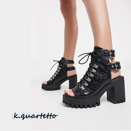 Open Toe Platform Lace-up Casual Style Street Style Plain