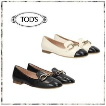 TOD'S Round Toe Rubber Sole Plain Leather Flats