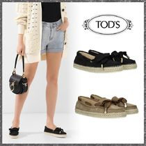 TOD'S Round Toe Rubber Sole Suede Plain Loafer & Moccasin Shoes