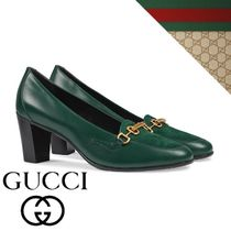 GUCCI Suede Plain Leather Office Style Elegant Style Pumps & Mules
