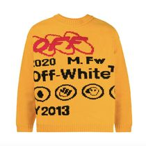 Off-White Crew Neck Pullovers Wool Street Style Long Sleeves Logo