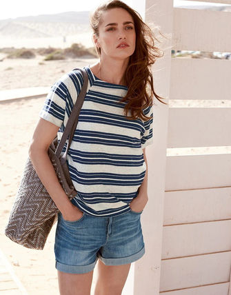 Stripes Linen Short Sleeves T-Shirts
