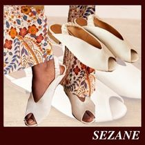 SEZANE Open Toe Casual Style Plain Leather Block Heels Party Style