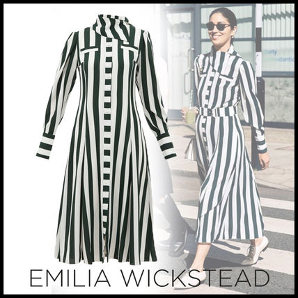 Stripes Long Sleeves Medium Shirt Dresses Elegant Style