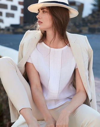 Casual Style Linen Short Sleeves Tops