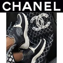 CHANEL ICON Suede Blended Fabrics Street Style Leather Logo Sneakers