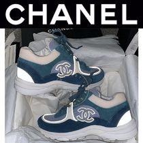 CHANEL ICON Plain Toe Rubber Sole Casual Style Suede Blended Fabrics